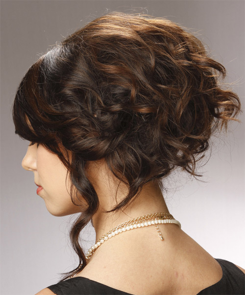 Updo Long Curly Formal  Updo Hairstyle   - Dark Brunette (Chocolate) - Side on View