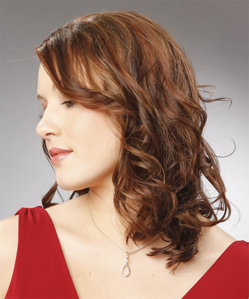 Medium Wavy Formal   Hairstyle   (Chocolate) - Side on View