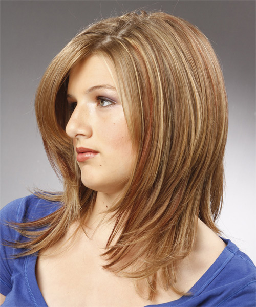 Medium Straight    Champagne Blonde   Hairstyle with Side Swept Bangs  - Side on View