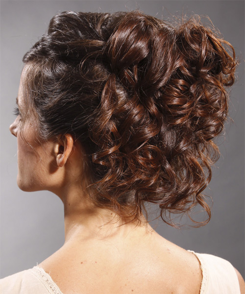 Updo Long Curly Formal  Updo Hairstyle   - Medium Brunette (Mocha) - Side on View