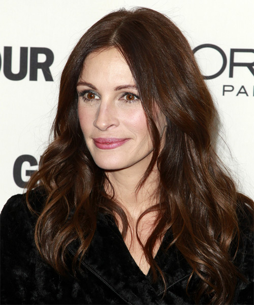Julia Roberts Long Wavy Casual   Hairstyle   - Dark Brunette (Chocolate) - Side on View