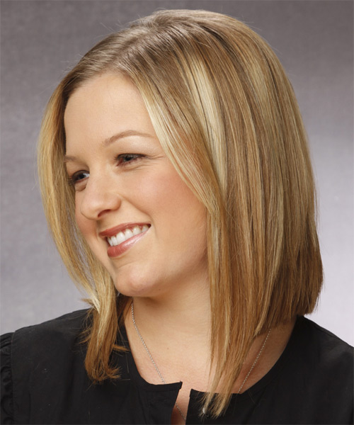Medium Straight Casual  Bob  Hairstyle   -  Honey Blonde Hair Color - Side on View