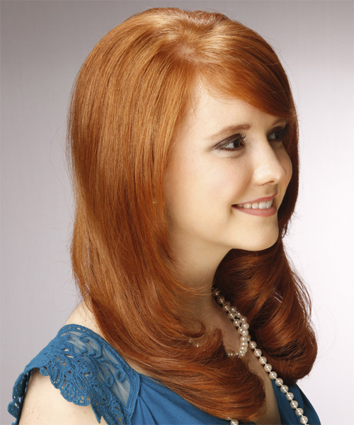 Long Wavy   Orange    Hairstyle with Side Swept Bangs  - Side on View