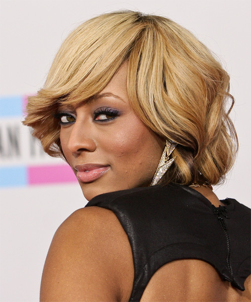 Keri Hilson Medium Wavy Formal    Hairstyle with Side Swept Bangs  - Light Mocha Blonde and Champagne Two-Tone Hair Color - Side on View