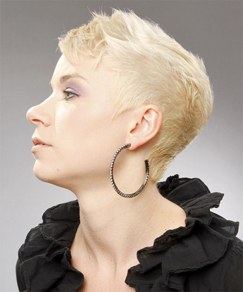 Platinum Pixie  Cut with Side Swept Bangs  - Side on View