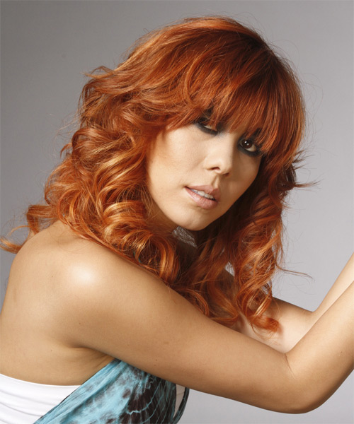Long Curly   Orange Golden    Hairstyle with Razor Cut Bangs  - Side on View