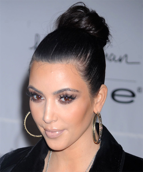 Kim Kardashian Updo Long Straight Formal Wedding Updo Hairstyle   - Side on View