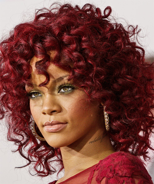 Rihanna Medium Curly Casual   Hairstyle   - Medium Red - Side on View