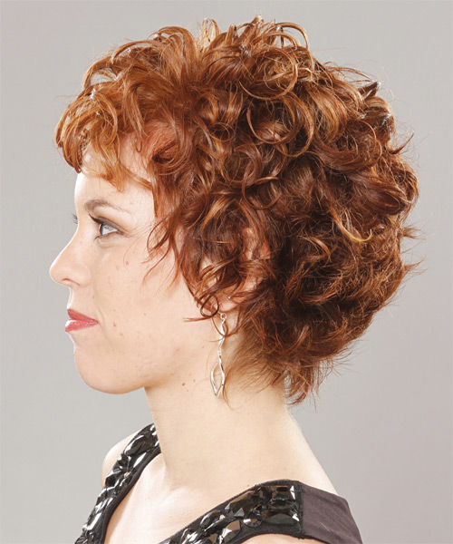 Short Curly Formal   Hairstyle with Layered Bangs  (Ginger) - Side on View