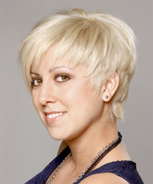 Short Straight Casual Layered Pixie  Hairstyle   - Platinum Hair Color - Side on View