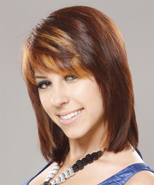 Medium Straight    Auburn Brunette   Hairstyle with Side Swept Bangs  and Dark Blonde Highlights - Side on View