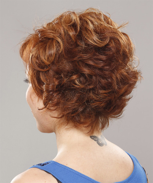 Short Wavy    Ginger Red   Hairstyle with Side Swept Bangs  - Side on View