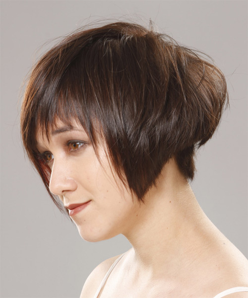 Short Straight Casual    Hairstyle with Side Swept Bangs  -  Chocolate Brunette Hair Color - Side on View