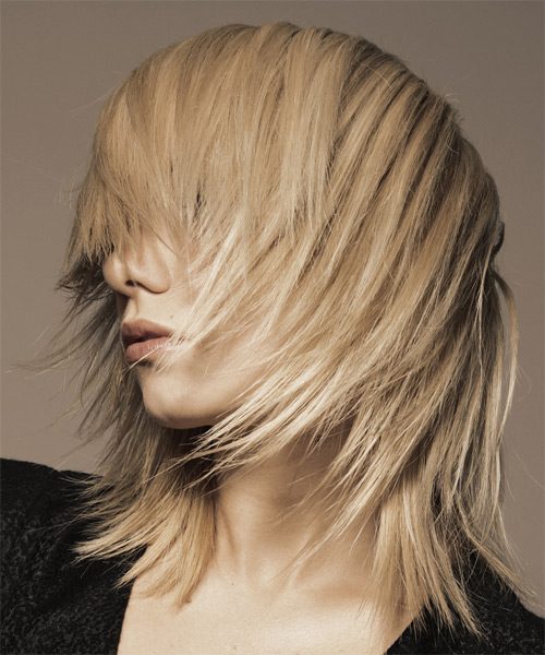 Medium Straight Casual    Hairstyle   - Light Blonde Hair Color - Side on View