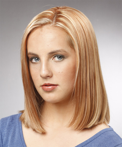Medium Straight Formal Bob Hairstyle Light Copper Blonde