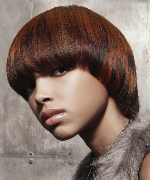 Short Straight Formal    Hairstyle with Blunt Cut Bangs  - Dark Brunette Hair Color - Side on View