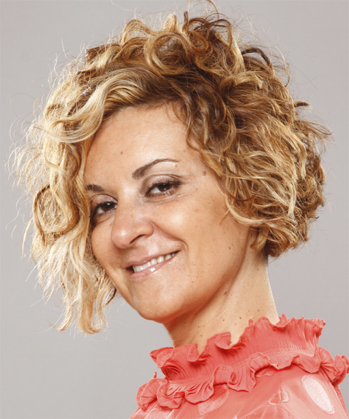 Short Curly Casual   Hairstyle   - Dark Blonde - Side on View