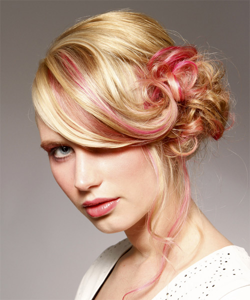Long Curly   Light Bright Blonde  Updo    with Pink Highlights - Side on View