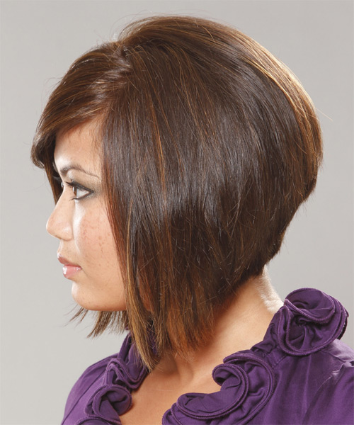 Short Straight Casual  Bob  Hairstyle with Side Swept Bangs  - Medium Brunette Hair Color - Side on View