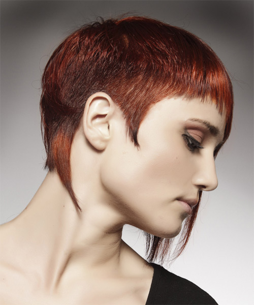 Short Straight    Red   Hairstyle with Asymmetrical Bangs  - Side on View
