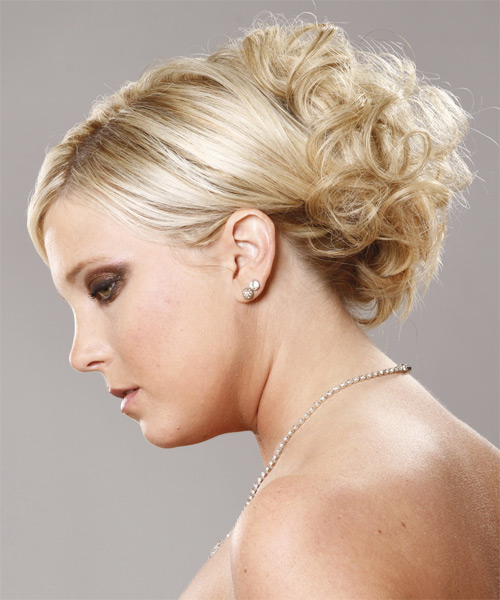 Long Curly   Platinum  Updo    - Side on View