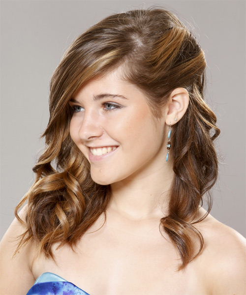 Long Curly Formal    Hairstyle   - Light Brunette and Caramel Two-Tone Hair Color - Side on View