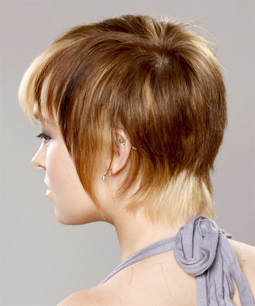 Short Straight Casual    Hairstyle with Razor Cut Bangs  - Caramel and Platinum Two-Tone Hair Color - Side on View