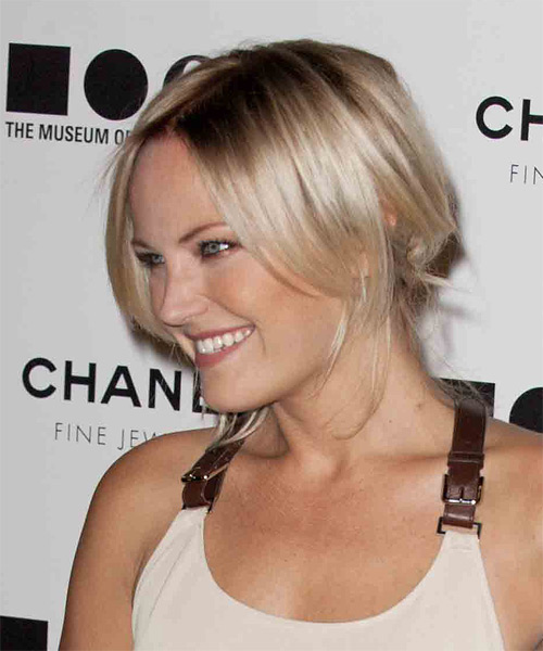 Malin Akerman     Light Blonde and Dark Brunette Two-Tone Pixie Updo    - Side on View