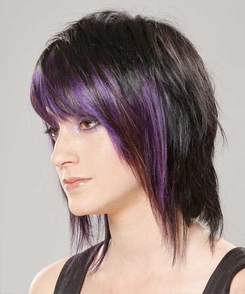 Medium Straight   Purple  and Black Two-Tone   Hairstyle with Razor Cut Bangs  - Side on View