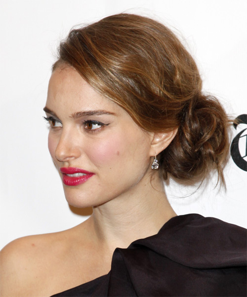 Natalie Portman  Long Curly Formal   Updo Hairstyle   -  Caramel Brunette Hair Color - Side on View