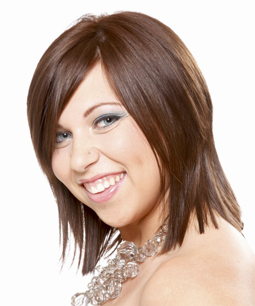 Medium Straight Formal    Hairstyle with Side Swept Bangs  -  Brunette Hair Color - Side on View