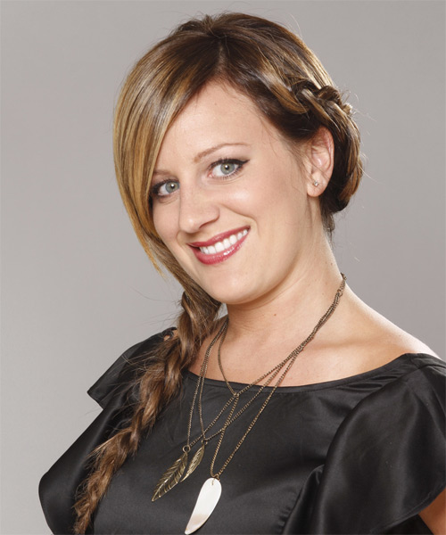 Updo Long Straight Casual Braided Updo Hairstyle   - Medium Brunette (Golden) - Side on View