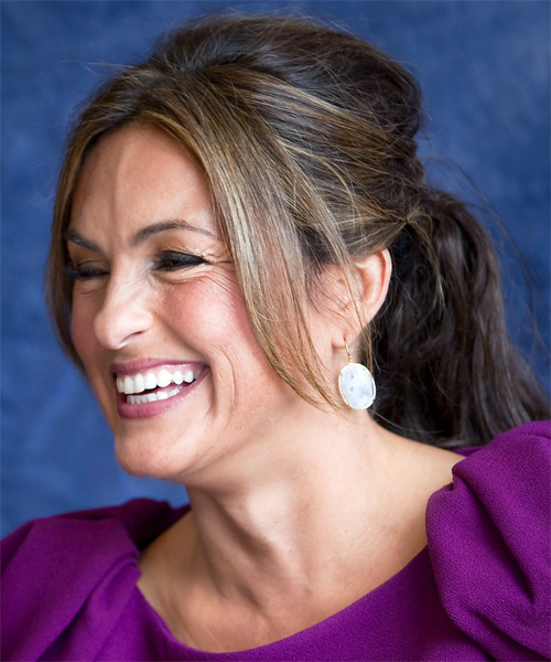 Mariska Hargitay  Long Straight Casual   Updo Hairstyle   - Dark Brunette Hair Color - Side on View