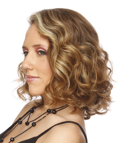Medium Curly    Ash Blonde   Hairstyle   with Light Blonde Highlights - Side on View