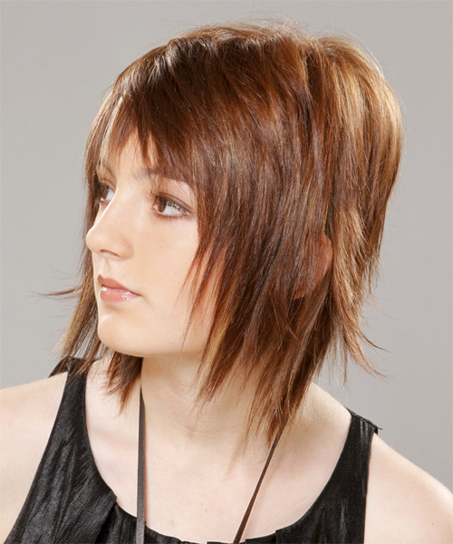 Medium Straight    Chestnut Brunette   Hairstyle with Razor Cut Bangs  - Side on View