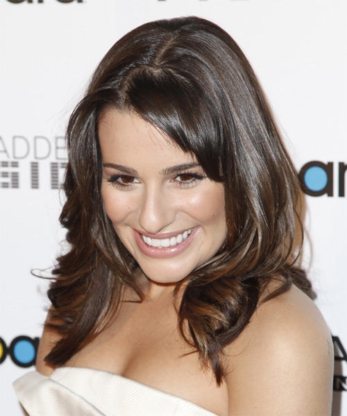 Lea Michele Long Wavy Formal   Hairstyle with Layered Bangs  - Side on View