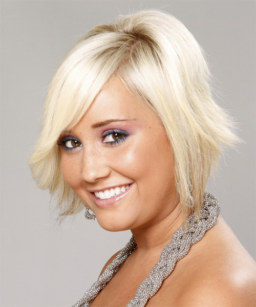 Short Straight Casual    Hairstyle   - Light Platinum Blonde Hair Color - Side on View