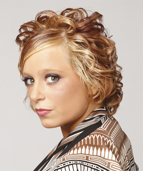 Short Curly Formal   Hairstyle with Side Swept Bangs  - Dark Blonde (Caramel) - Side on View