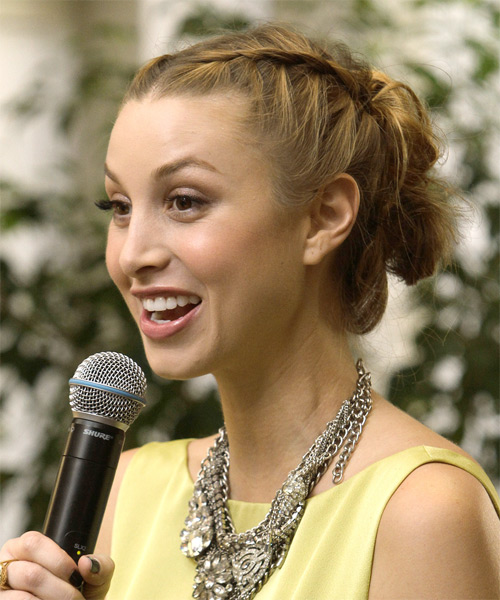 Whitney Port  Long Curly Formal  Braided Updo Hairstyle   -  Brunette Hair Color - Side on View