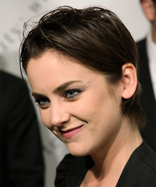 Jessica Stroup Short Straight Casual  Pixie  Hairstyle   - Dark Brunette Hair Color - Side on View