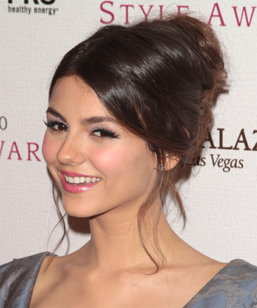 Victoria Justice  Long Straight   Dark Brunette  Updo    - Side on View