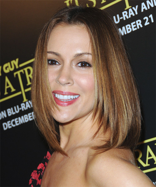 Alyssa Milano Medium Straight Formal   Hairstyle   - Side on View