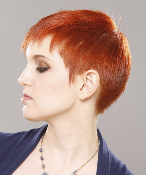 Short Straight Casual  Pixie  Hairstyle with Blunt Cut Bangs  - Orange  Hair Color - Side on View