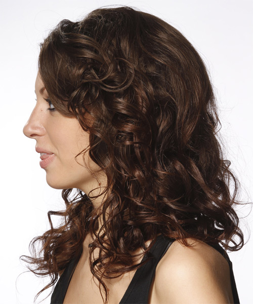 Long Curly Formal    Hairstyle   - Dark Brunette Hair Color - Side on View