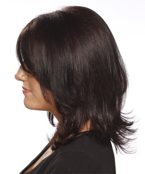 Medium Straight Formal    Hairstyle with Side Swept Bangs  - Dark Red Hair Color - Side on View