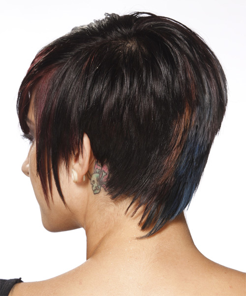 Short Straight Casual  Pixie  Hairstyle   - Black Mahogany  Hair Color - Side on View