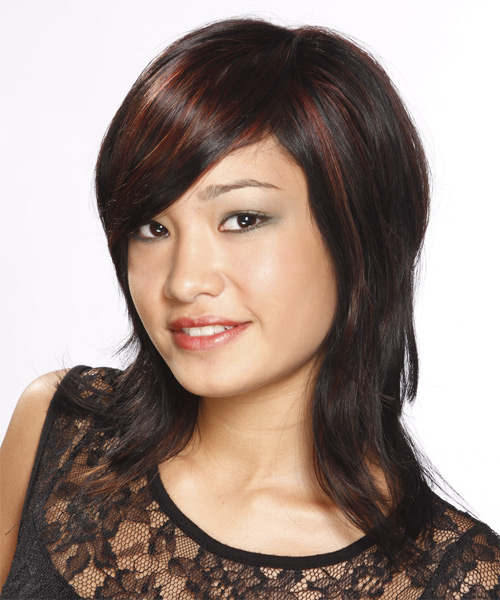 Medium Straight Casual   Hairstyle with Side Swept Bangs  - Black (Mahogany) - Side on View