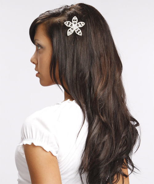 Long Straight Formal   Hairstyle   - Dark Brunette (Mocha) - Side on View