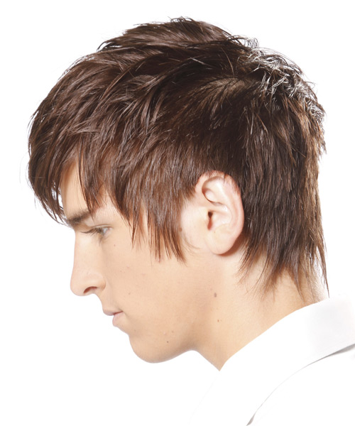 Short Straight Casual    Hairstyle with Razor Cut Bangs  - Light Chocolate Brunette Hair Color - Side on View
