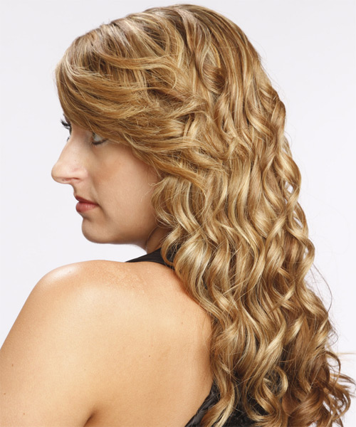 Long Curly Formal   Hairstyle with Side Swept Bangs  - Dark Blonde (Golden) - Side on View
